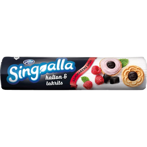 Göteborgs Kex Singoalla  Hallon &  Lakrits - Biscuits With Raspberry & Licorice Filling 190 g