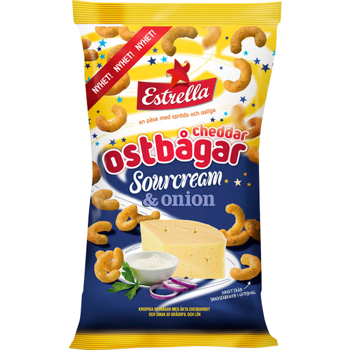 Estrella Cheddar Ostbågar Sourcream & onion - Cheddar Cheese Corn Snacks 225 g