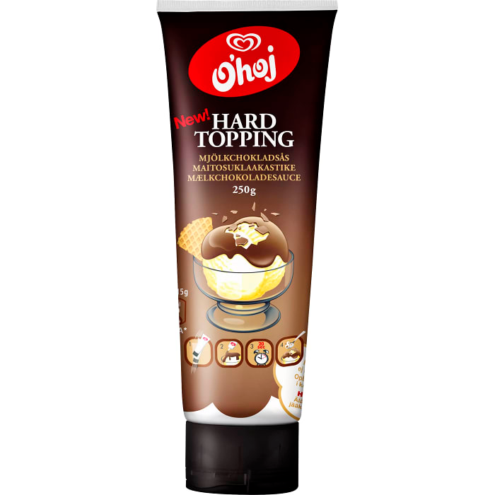 Ohoj Hard topping Mjölkchokladsås - Milk chocolate Sauce 250g