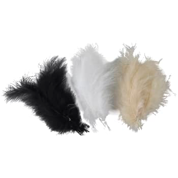 Mix Påskfjädrar - Black, White & Brown Mixed Feathers 5 p