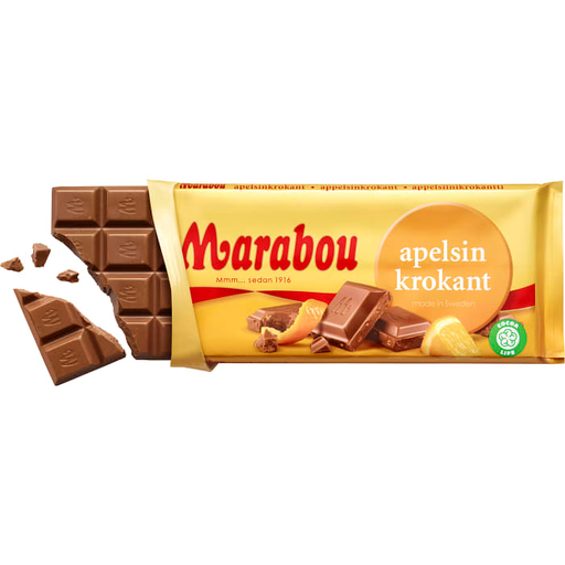 Marabou Apelsin krokant - Milk Chocolate with Orange Crisp 200 g