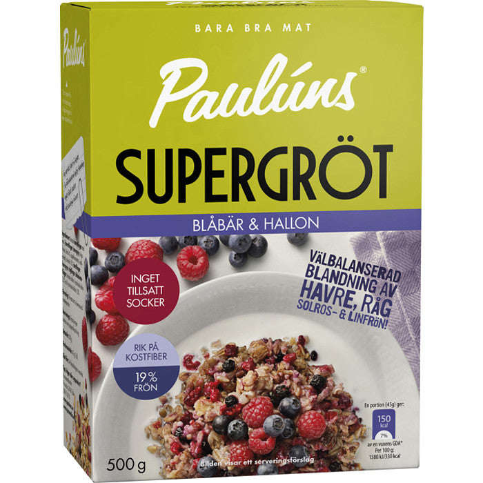 Paulúns Supergröt Blåbär & Hallon - Super Porridge Blueberry & Raspberry 500g