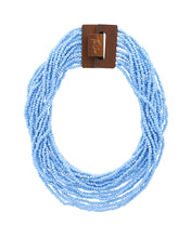 Load image into Gallery viewer, Lipstick Scarf + Blue Beaded Necklace Collection