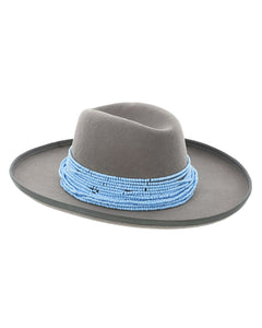 Z Hat Grey + Blue Beaded Hat Necklace Collection