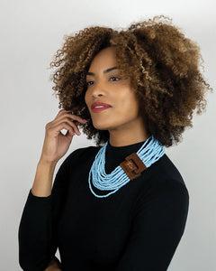 Lipstick Scarf + Blue Beaded Necklace Collection