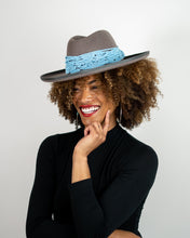 Load image into Gallery viewer, Grey Z Hat + Blue Beaded Necklace Collection