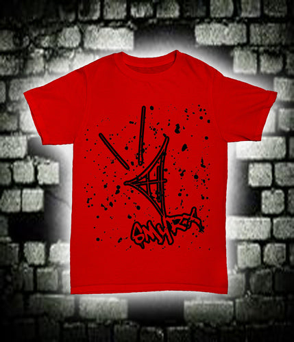 Smyrx Logo Splatter Black on Red