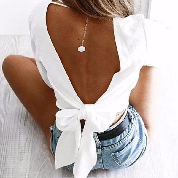 Backless Bow Blouse