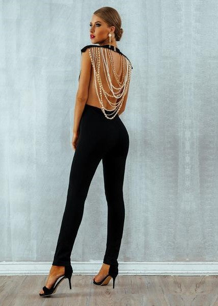 Beads Backless Jumpsuits