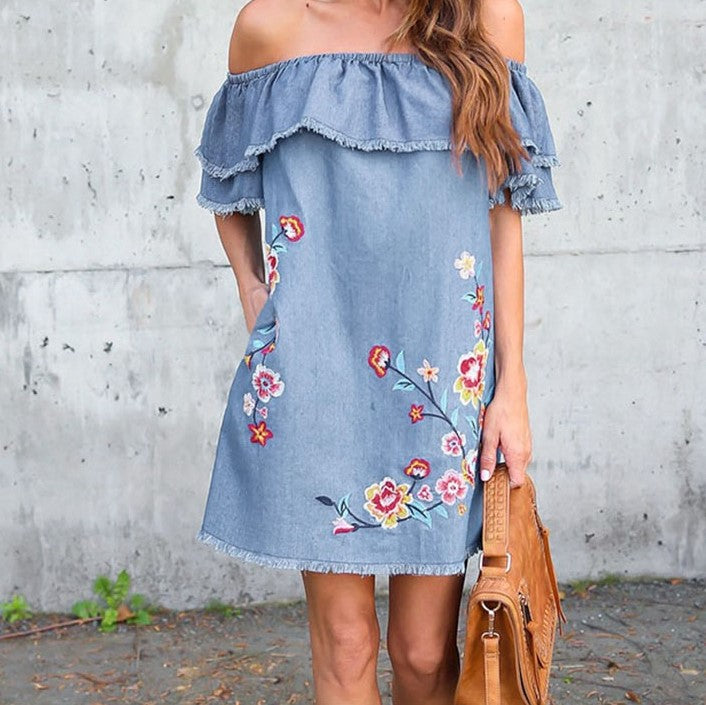 Denim Embro Dress