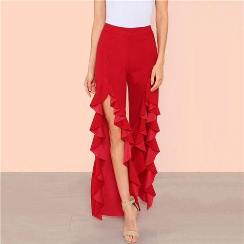 Split Ruffle Pants