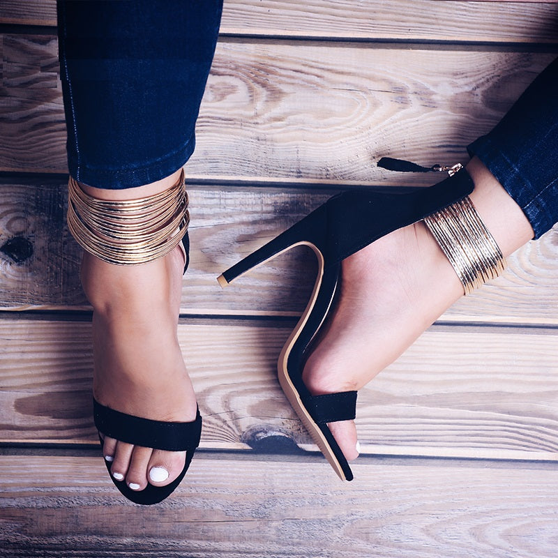 Golden Narrow Sandals