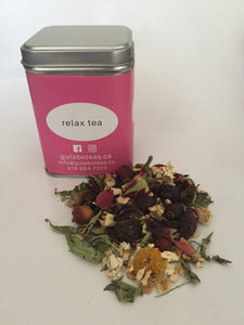 Calm your heart, body, and mind with Relax Tea. Herbs, rosebuds, and verbena.  50 grams | loose leaves | packaged in reusable tin.