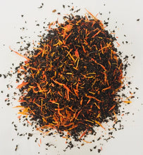 Load image into Gallery viewer, Enhance your mood, libido, and memory with Saffron Tea. Rich in antioxidants and flavor.  50 grams | loose leaves | packaged in reusable tin.
