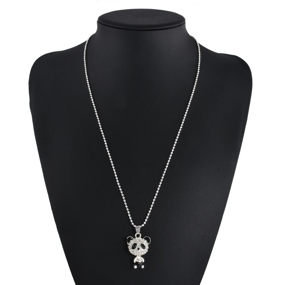 Pretty Enamel Rhinestone Panda Necklace Women Crystal - Gadget Best Shop