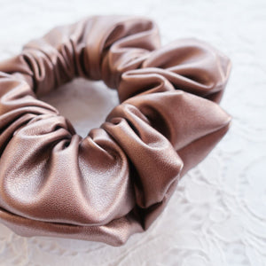 Bronze Vegan Leather Scrunchie