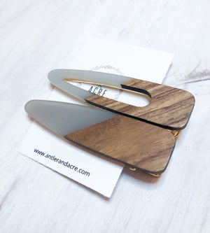 Wood Hair Clips - Gray 2 Pack