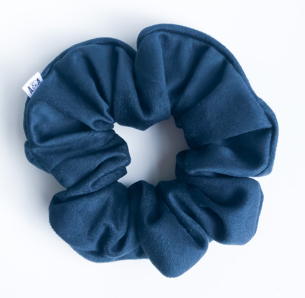Midnight Faux Suede Scrunchie