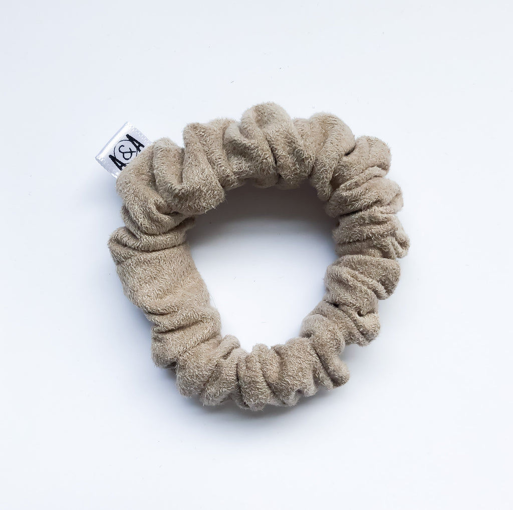 MINI Camel Faux Suede Scrunchie