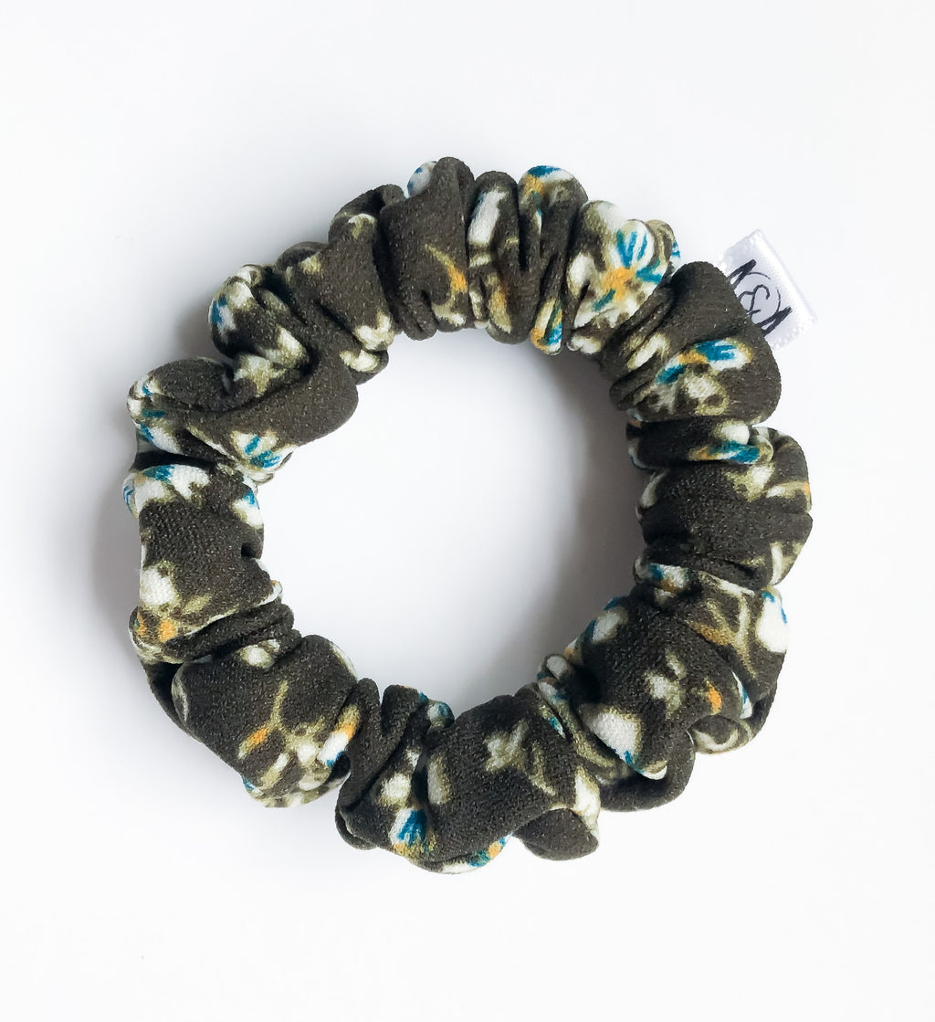 MINI Olive Floral Scrunchie