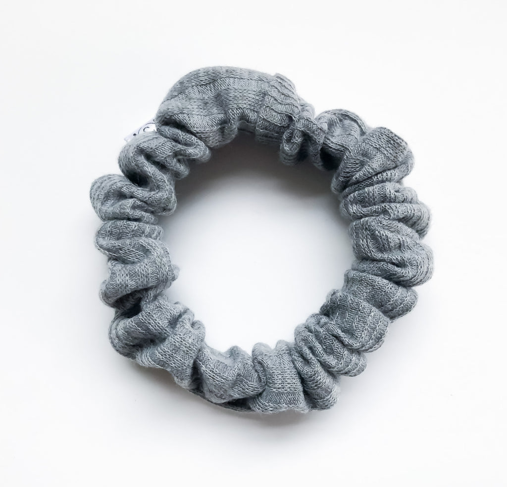 MINI Grey Ribbed Scrunchie