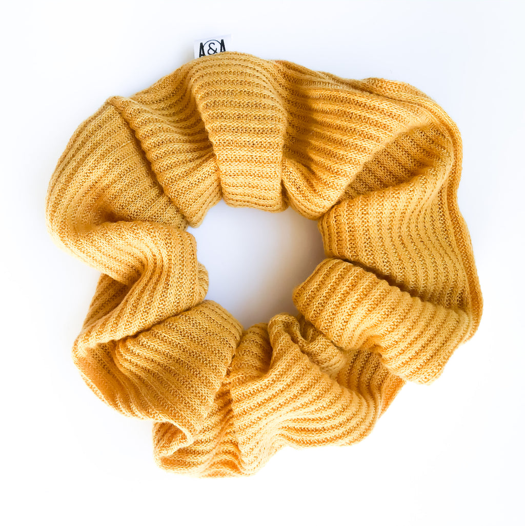 Ribbed Mustard Scrunchie