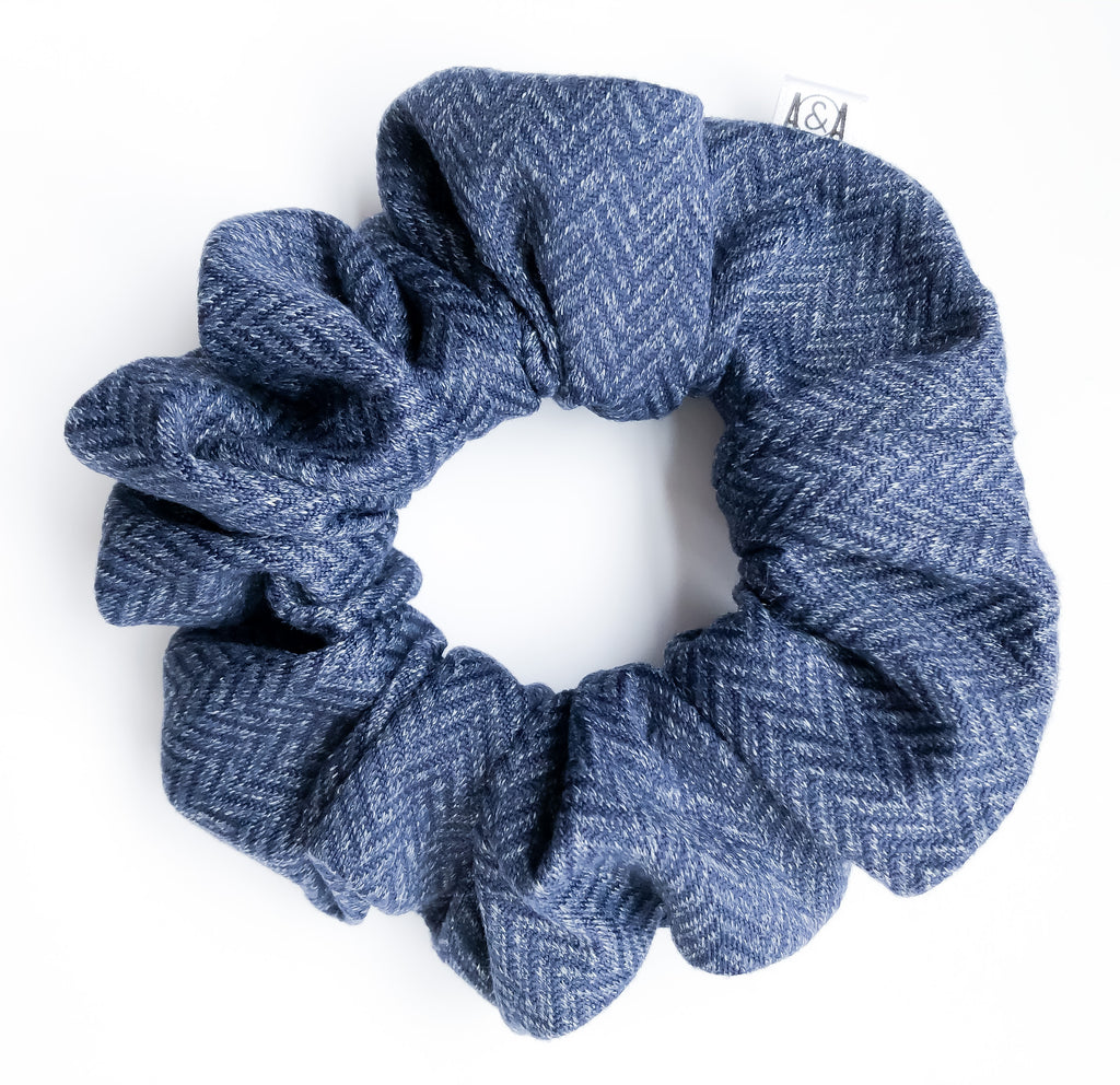Navy Herringbone Scrunchie