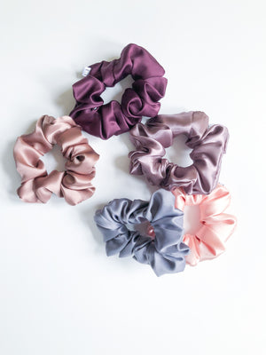Peach Dahlia Satin Scrunchie