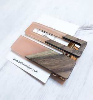 Wood Hair Clips - Peach 2 Pack Rectangles