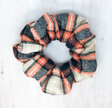 Orange Plaid Scrunchie