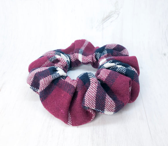 Purple Plaid Scrunchie