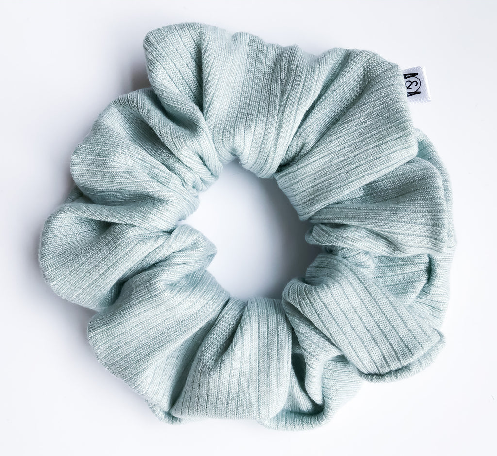 Mint Ribbed Scrunchie