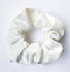 Crushed White Velvet Scrunchie