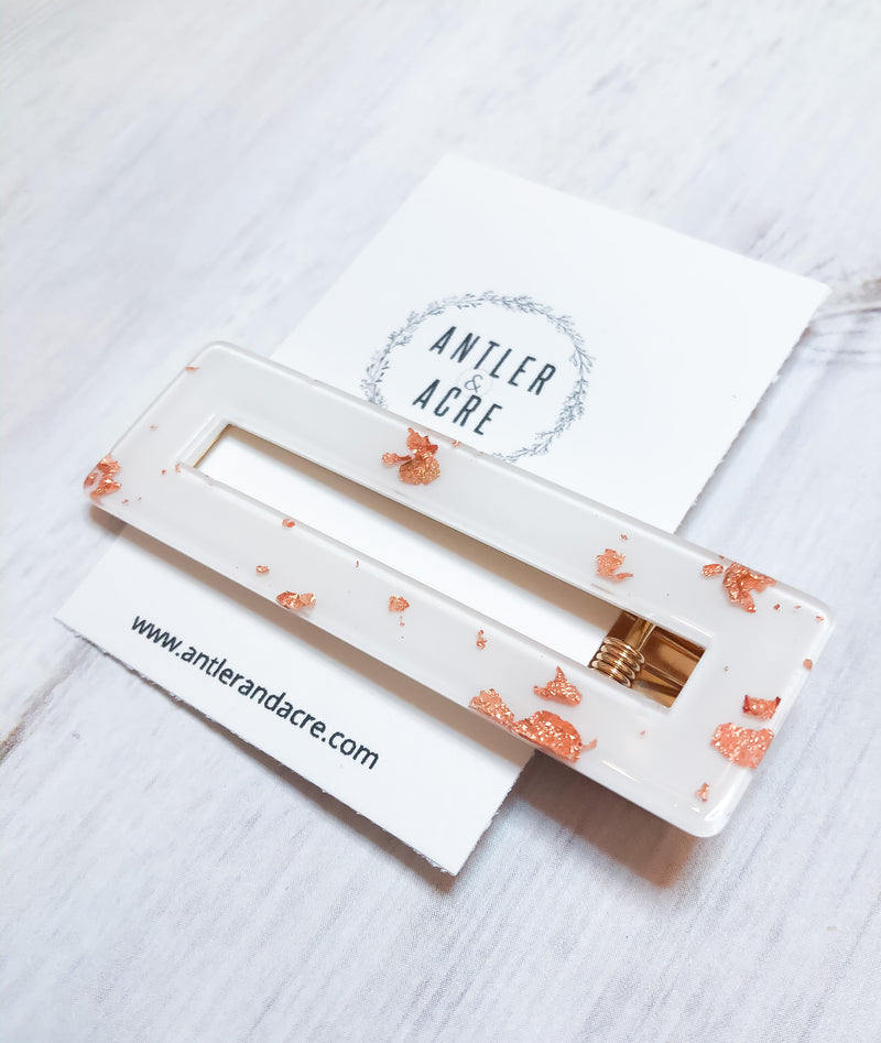 White and Rose Gold Acrylic Hair Clip - Rectangle