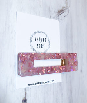 Acrylic Hair Clip - Pink Sparkle (Rectangle)