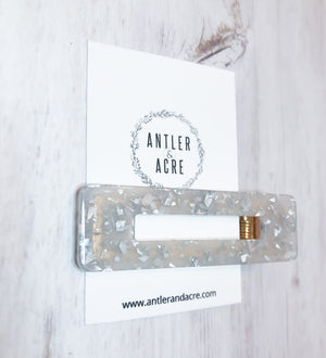Acrylic Hair Clip - White and Silver Foil (Rectangle)