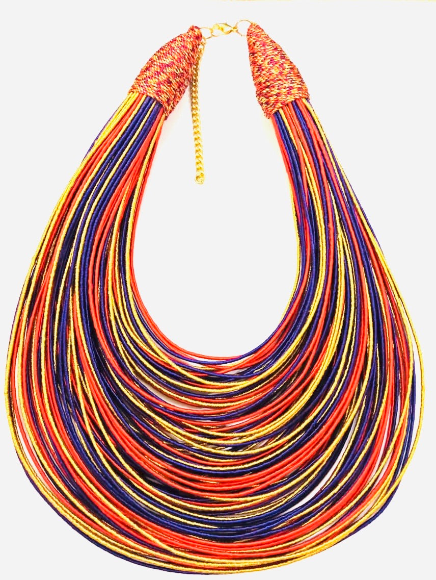 Aziza Tribal Bib (Gold/Orange/Purple)