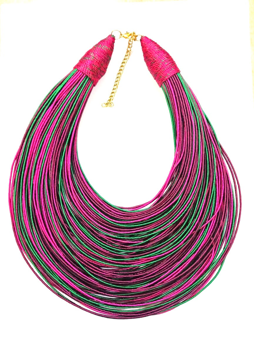 Aziza Tribal Bib (Dark Fuchsia/Green/Burgundy)