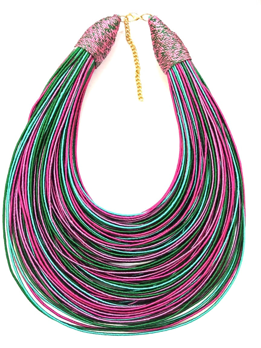 Aziza Tribal Bib (Mint Green/Mauve/Dark Fuchsia/Green)