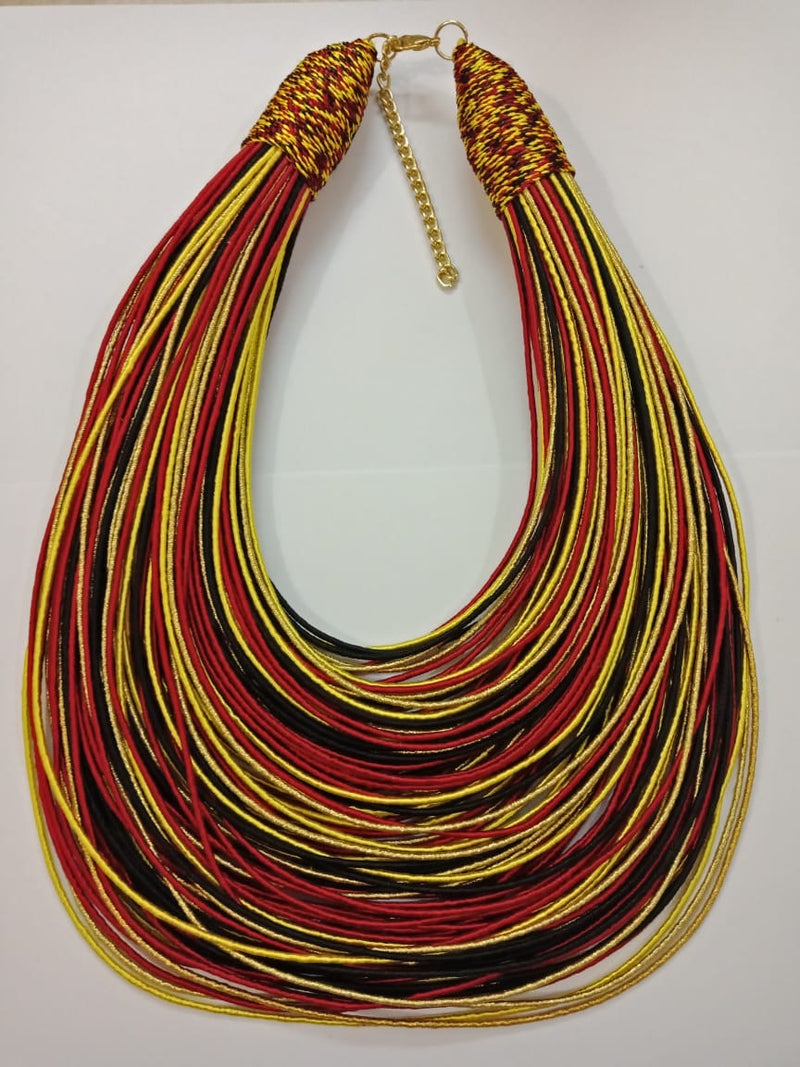 Aziza Tribal Bib (Gold/Red/Black)