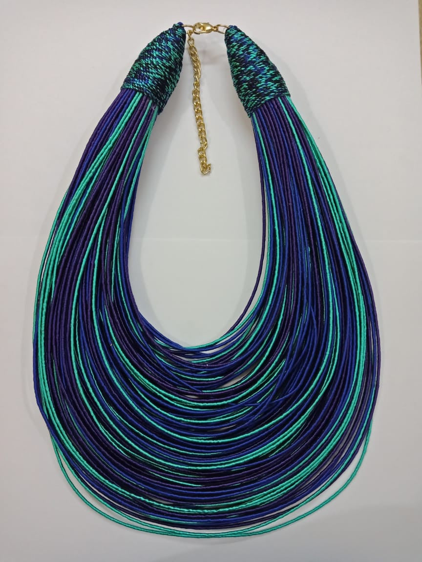 Aziza Tribal Bib (Purple/Royal Blue/Mint Green)