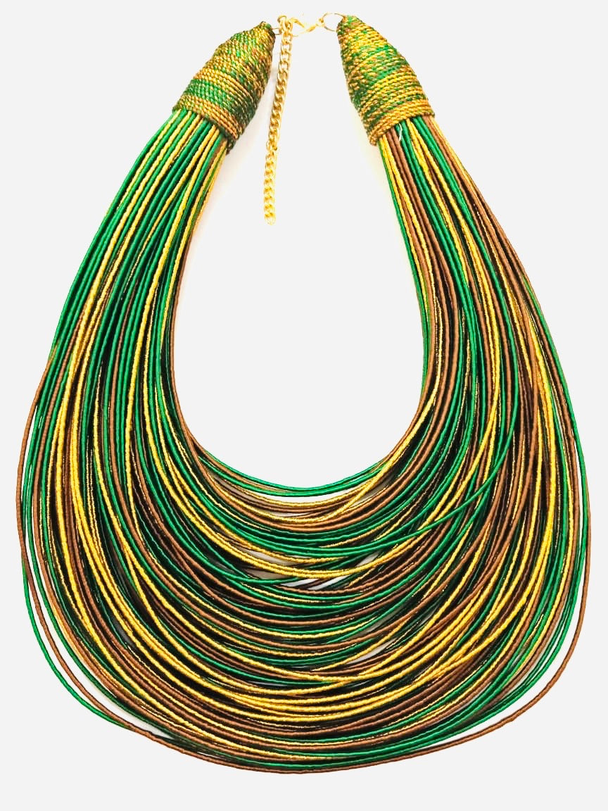 Aziza Tribal Bib (Gold/Brown/Green)