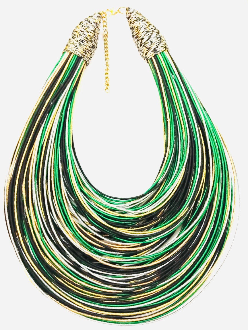 Aziza Tribal Bib (Gold/Green/Black)