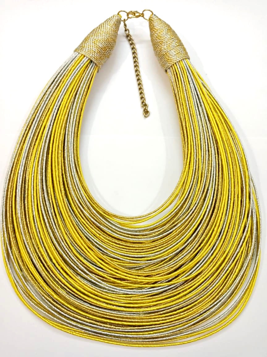 Aziza Tribal Bib (Yellow/Gold/Silver)