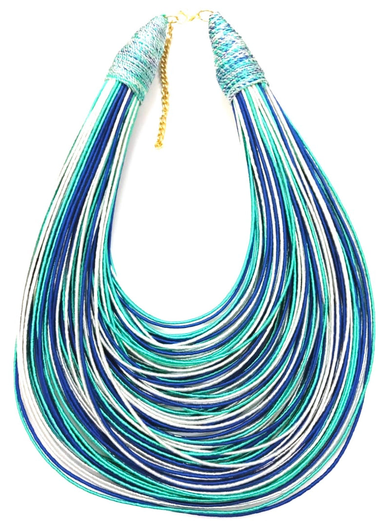 Aziza Tribal Bib (White/Royal Blue/Mint Green)