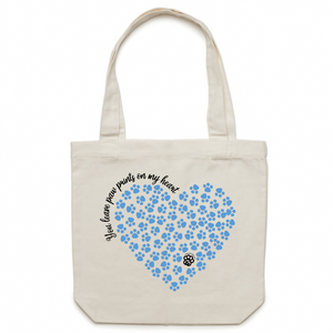 Paw Prints on my Heart - Canvas Tote Bag - Blue Heart Design