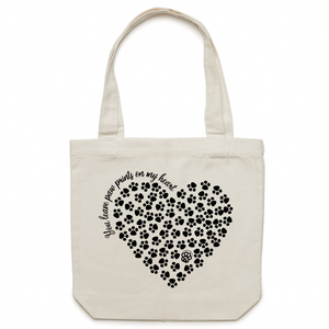 Paw Prints on my Heart - Canvas Tote Bag - Black Heart Design