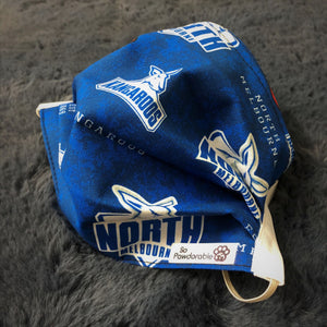 "ADULT ""North Melbourne Kangaroos"" Washable Face Mask"