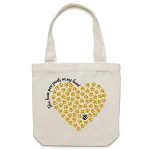 Paw Prints on my Heart - Canvas Tote Bag - Gold Heart Design