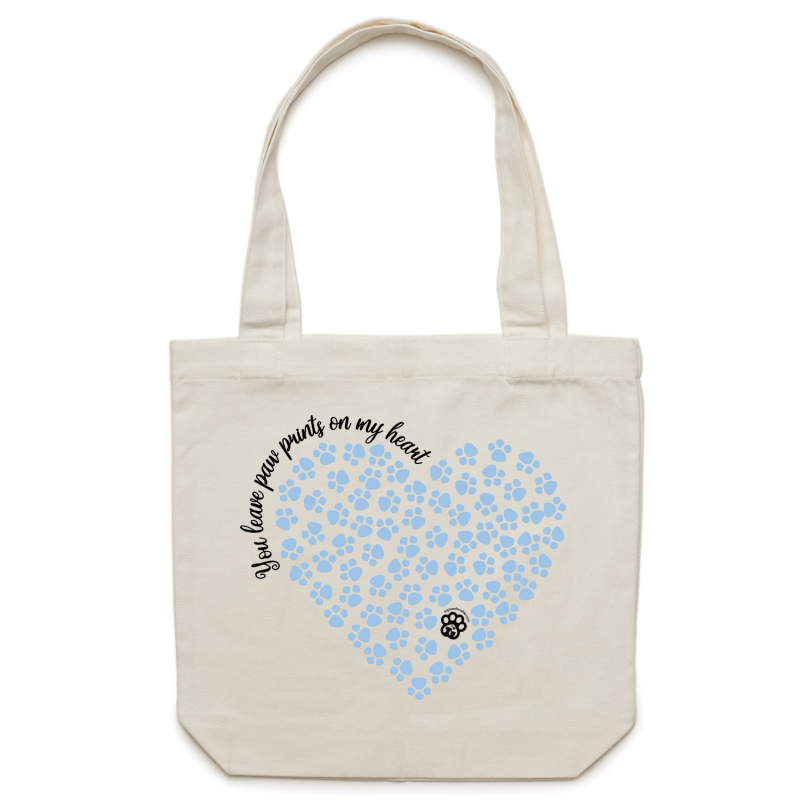 Paw Prints on my Heart - Canvas Tote Bag - Light Blue Heart Design